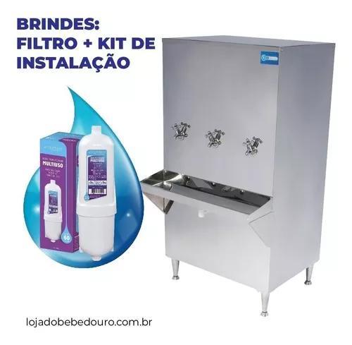Bebedouro refrigerador industrial inox 100 litros c/ filtro