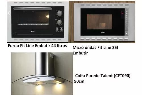 Kit fischer coifa parede+forno 44l+micro ondas 24l
