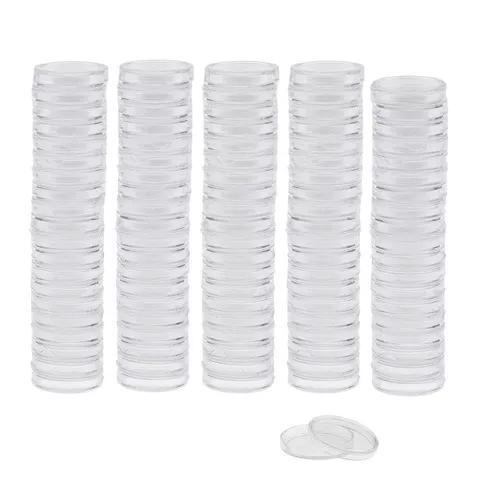 100pcs clear redondo plástico moeda cápsulas container