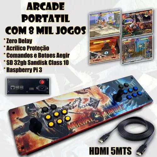 Arcade portátil controle - multijogo 8000 jogo + hdmi 5mt