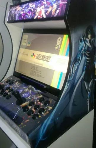 Fliperama bartop monitor 22 adesivado 9000 jogos recalbox