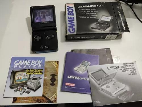 Game boy advance sp gba na caixa com pequeno detalhe na tela