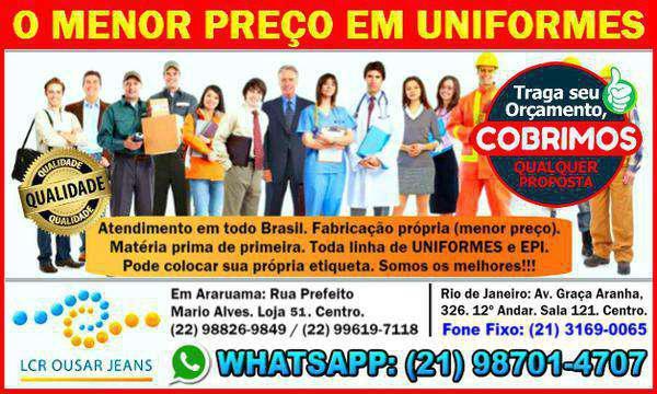 Jeans e uniformes profissionais confecção fabrica rj
