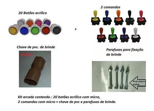 Kit arcade, 20 botões com micro + 2 comando/ manche c/ 2usb