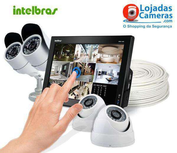 Kit Completo 04 Câmeras Intelbras Dvr 4 Canais + 4 Câmeras