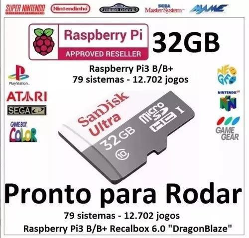 Micro sd 32g raspberry pi3 b/b+ recalbox 6.0 - 12 mil jogos
