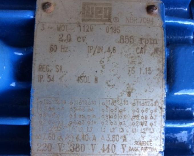 Motor elétrico weg 2 cv 850 rpm 8 pólos trif 220380440 v