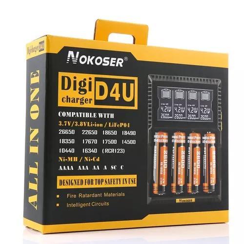 Nokoser d4u 4 slot lcd carregador de bateria inteligente