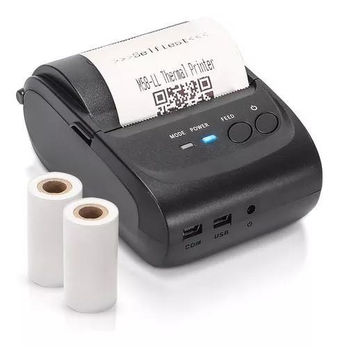 Mini impressora portatil bluetooth termica 58mm + 2 bobinas
