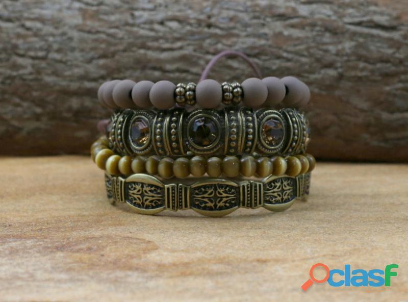 Mix de pulseiras boho chic ouro velho pulseirismo bijuterias
