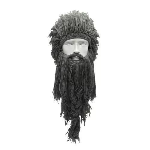 Engraçado peruca longo barba viking lã boné inverno woven