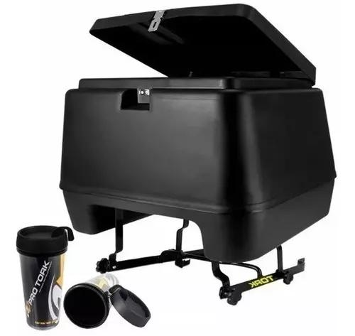 Baú moto 80 litros pro tork + suporte baú + brinde copo