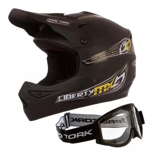 Capacete moto cross pro tork preto mxpro trilha + óculos