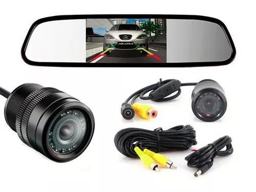 Espelho retrovisor monitor lcd 4.3 + camera ré led colorida