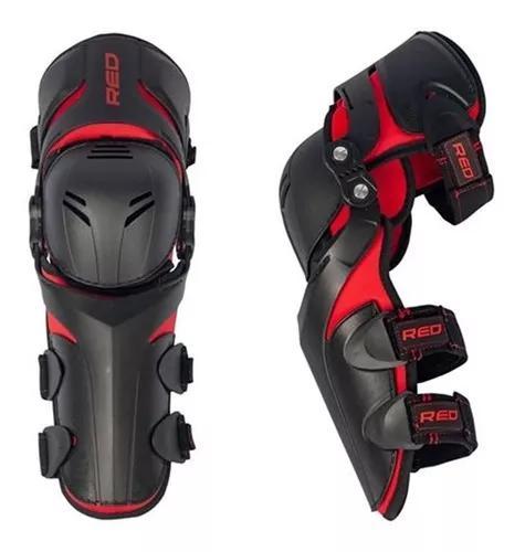 Joelheira motocross red dragon evo articulada preto vermelho
