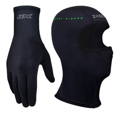 Kit touca ninja x11 termica + luva thermic segunda pele frio