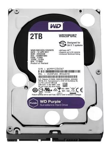 Hd 2tb purple wd dvr cftv wd20purz intelbras