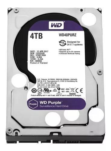 Hd 4tb western digital purple cftv dvr intelbras wd40purz