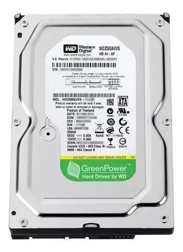 Hd sata western digital green power pc dvr - 250gb