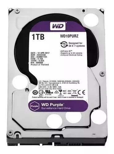 Hd wd 1tb sata purple 5400 rpm dvr intelbras wd10purz