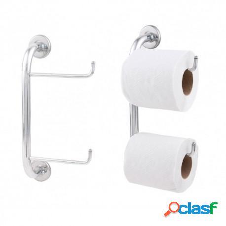 3 papeleiras/porta papel higiênico duplo em alumínio polido
