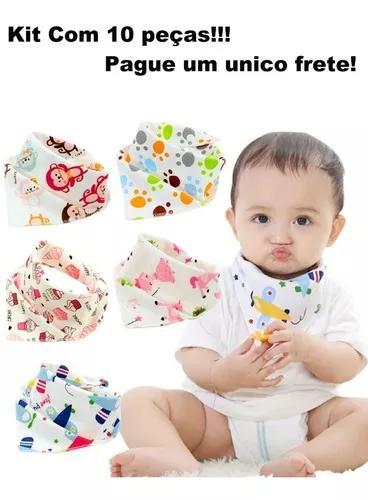 Babador bandana bebe criança kit c/5 un c/ regulag