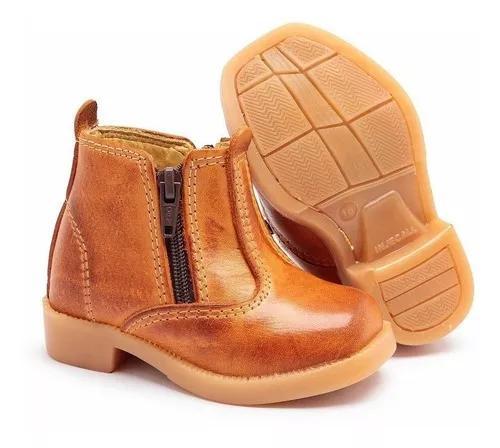 Botinha infantil couro bota para criança botina