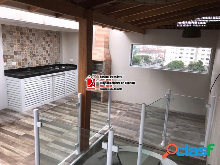 Apartamento triplex novo 2 suites 1 vaga embaré santos