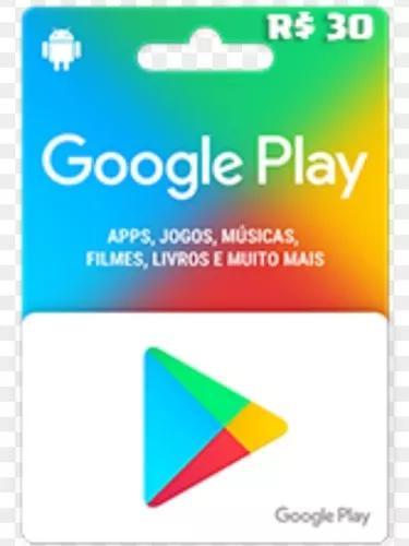 Gift card r$ 30 play store envio imediato