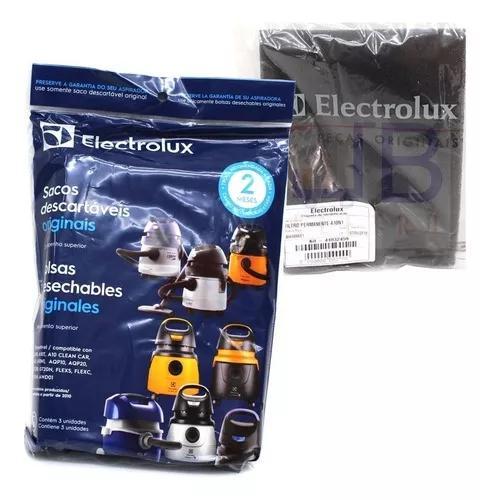 6 sacos + 1 filtro perm. p/ aspirador electrolux flex 1400