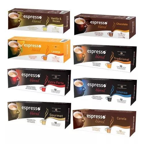 Kit 8 caixas cápsulas café compatíveis nespresso sabores