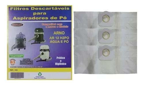Kit com 6 sacos para aspirador de pó arno ar12 água e pó