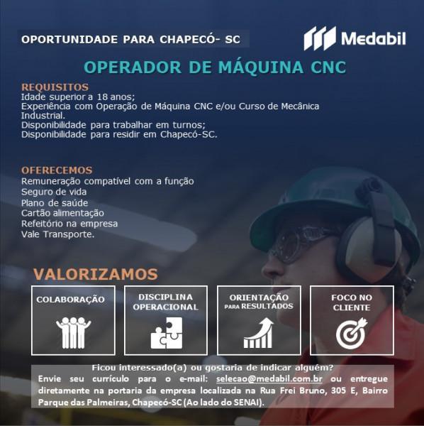 Medabil contrata: operador de máquina cnc