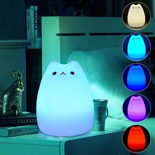 7-color changing cat shape led usb children's night light, s