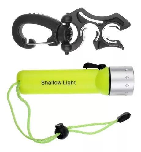 Mergulho subaquática led lanterna tocha + mergulho duplo
