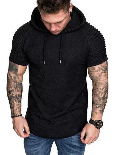 Túnica t - shirts homens moletom com capuz manga curta mole