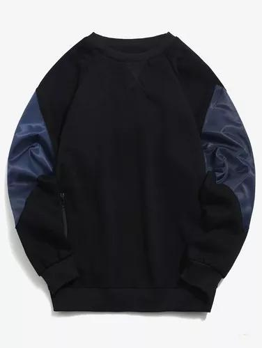 Bloco cor manga zíper bolso velo suéter