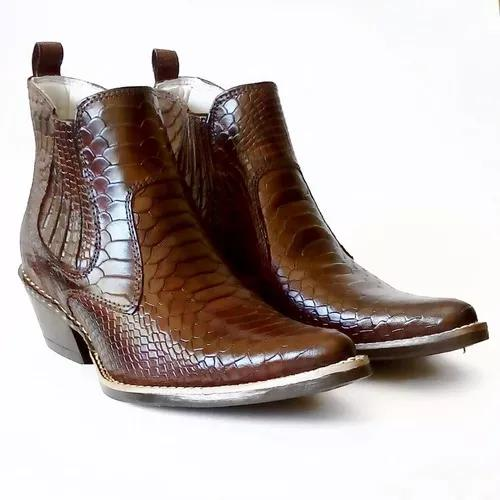 Bota country bico fino masculina couro desenho cobra texana