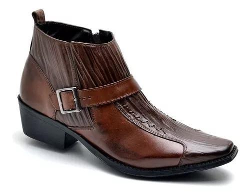 Bota masculina country botina rodeio couro legitimo casual