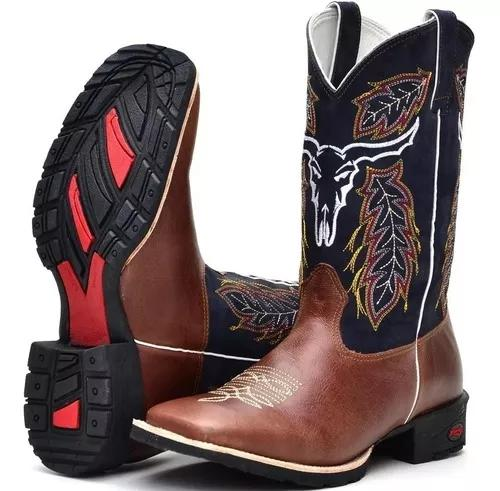 Bota masculina country texana cara boi bordada
