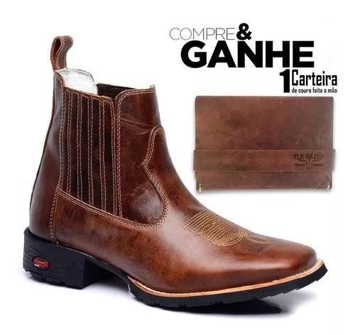 Bota texana country botina masculina bico quadrado+carteira.
