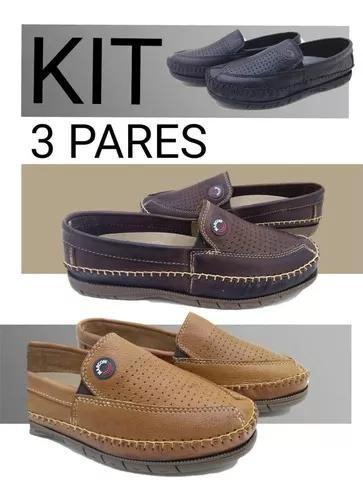 Kit 3 pares mocassim sapatilha masculino couro legítimo