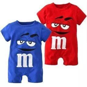 Macacão infantil roupas de criança bebê m&m manga curta