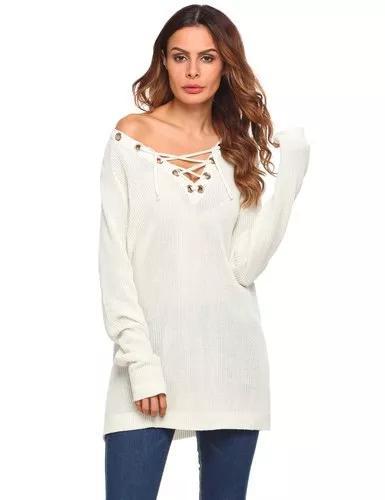 Mulheres longo manga v -pescoço suéter espesso malha solto