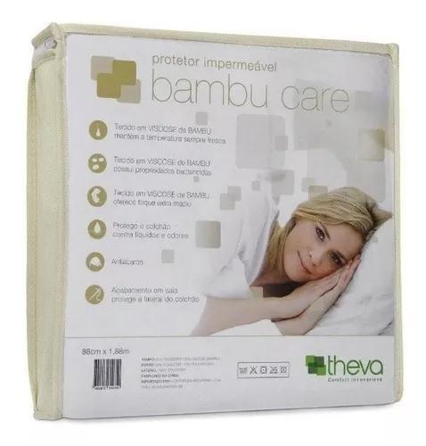 Capa impermeável colchão casal bambu care 188x138x40 theva