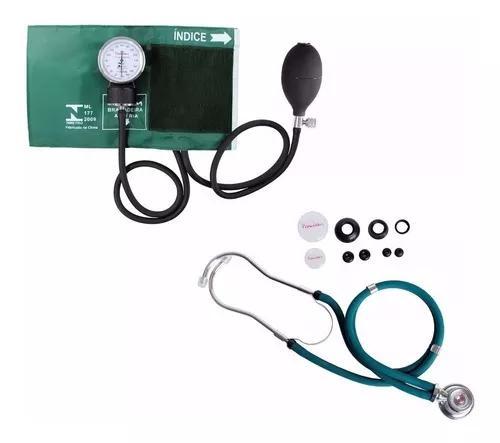 Kit Esfigmomanômetro + Estetoscopio Rappaport Verde Pr