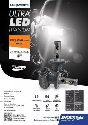 Kit lampada led ultra led shock light 10.000 lumens h4