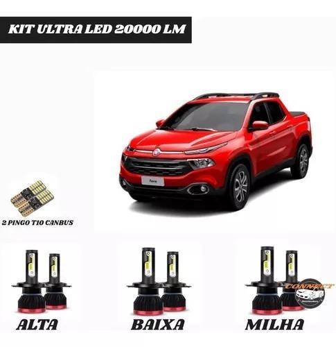 Kit mini super ultra led 20000 lm fiat toro +t10 s/erros