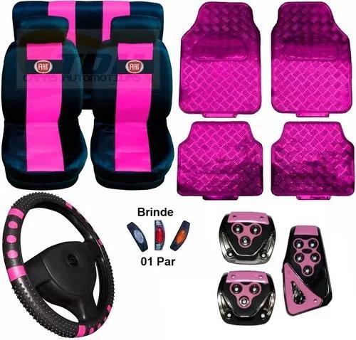 Kit rosa capa banco capa volante pedaleira tapete logo fiat