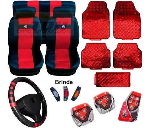 Kit vermelho capa banco capa volante pedaleira tapete